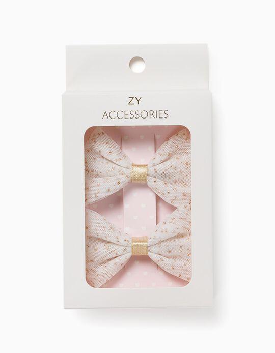 2 Ganchos Cabelo para Menina 'Glitter Bows', Branco/Dourado