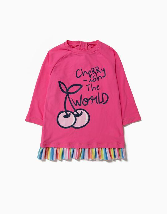 T-shirt de Banho para Menina 'Cherry' Anti-UV 80, Rosa