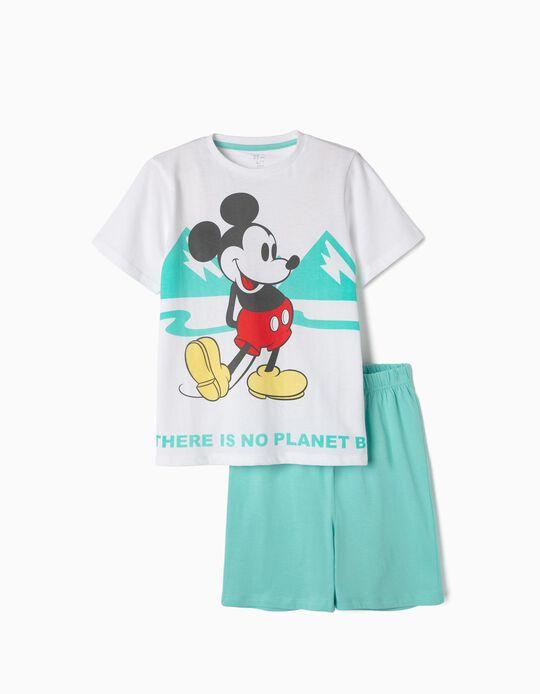 Pijama Algodão Orgânico para Menino 'Mickey Earth Day', Azul e Branco