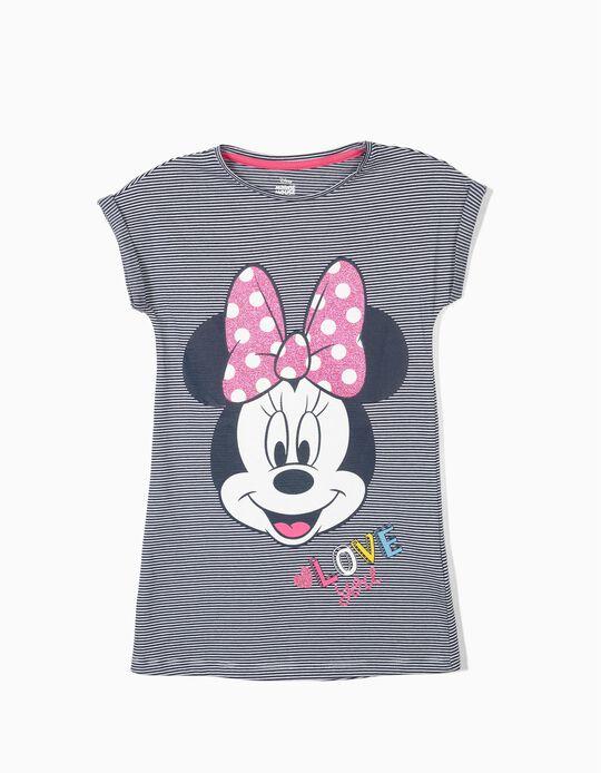 Vestido para Menina 'Minnie' Riscas, Azul e Branco