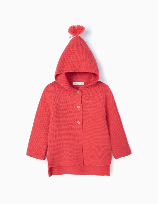 Hooded Knit Jacket for Girls with Elbow Patches, Pink
