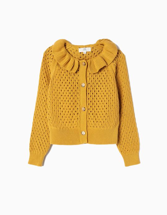 Ajour Knit Cardigan for Girls, Dark Yellow