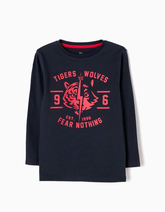 T-shirt Manga Comprida Tigers vs Wolves Azul