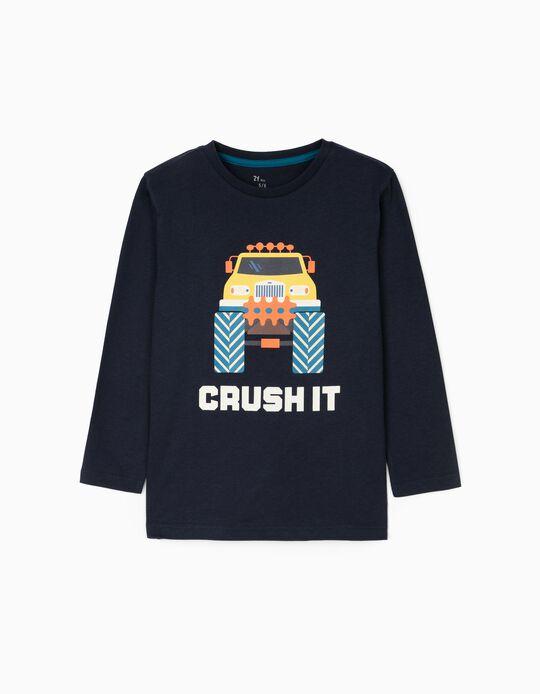 Long Sleeve T-Shirt for Boys 'Crush It', Dark Blue