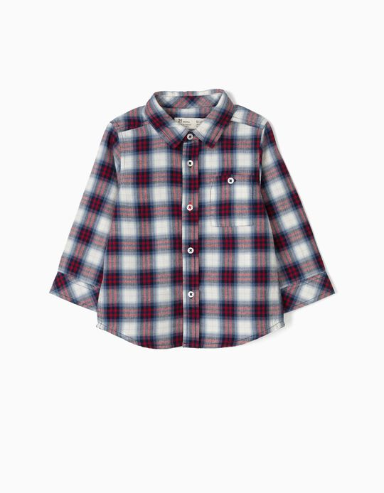 Plaid Shirt with Red and Blue Pocket
