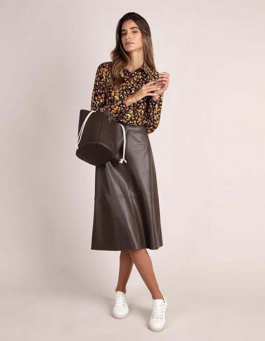 Midi Faux Leather Skirt
