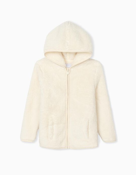 Minky Fabric Hooded Jacket, Children, White