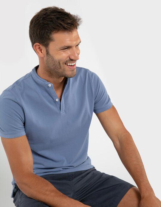 Cotton Polo Shirt, Mandarin Collar