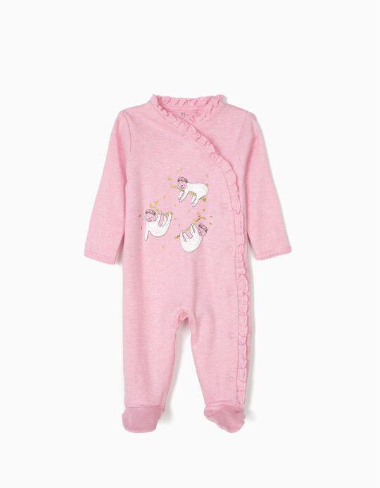 Babygrow para Recém-Nascida 'Flower Sloth', Rosa