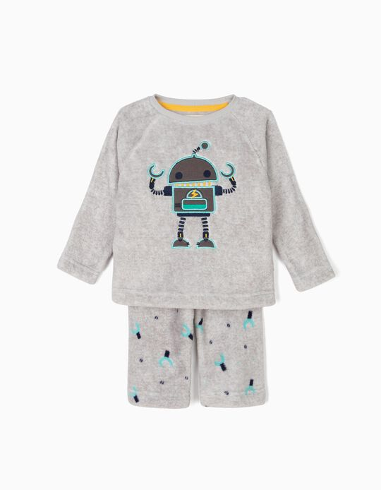 Polar Fleece Pyjamas for Baby Boys 'Robots', Grey