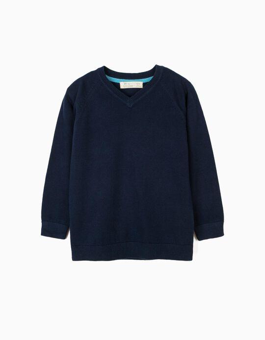 Camisola de Malha para Menino, Azul Escuro
