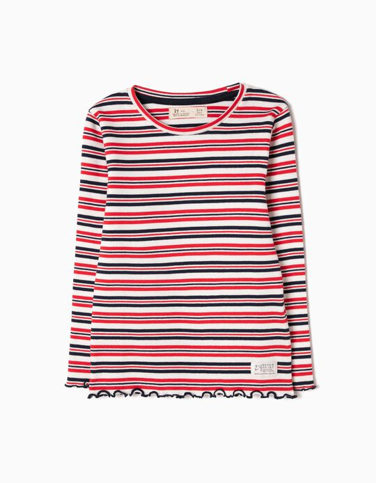 Striped Long-Sleeved Top in Rib Knit