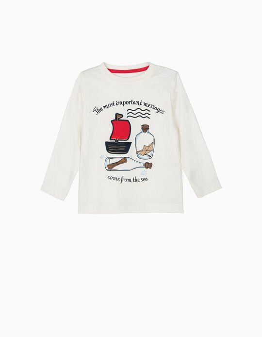 T-shirt Manga Comprida para Bebé Menino 'Sea',  Branco