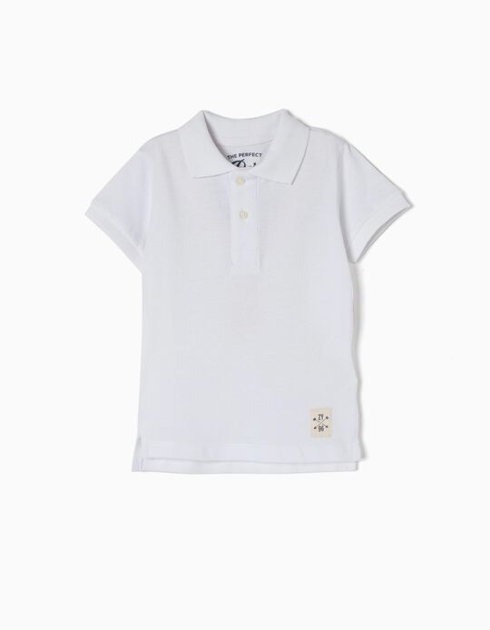 Short-Sleeved Polo Shirt for Baby Boys, White