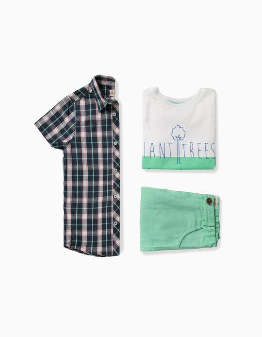 3-Piece Set for Boys 'Plant Trees', Blue/Green