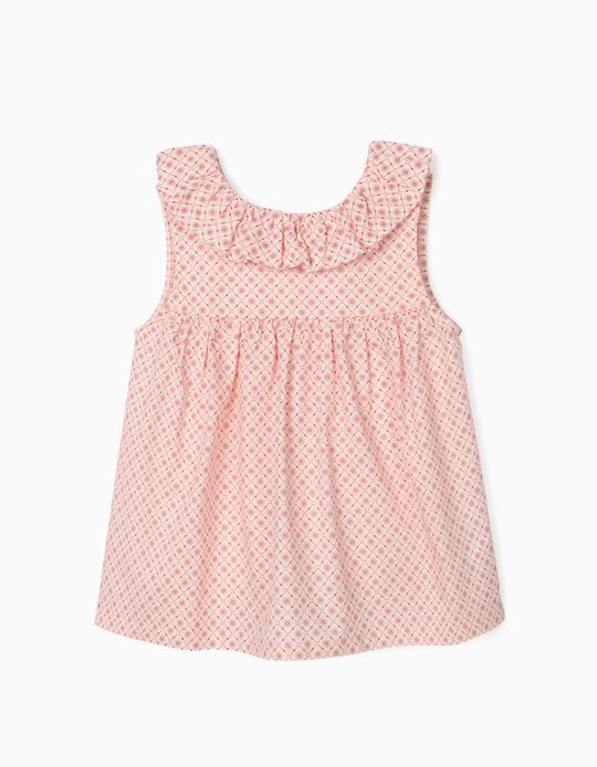 Printed Blouse for Girls, White/Pink