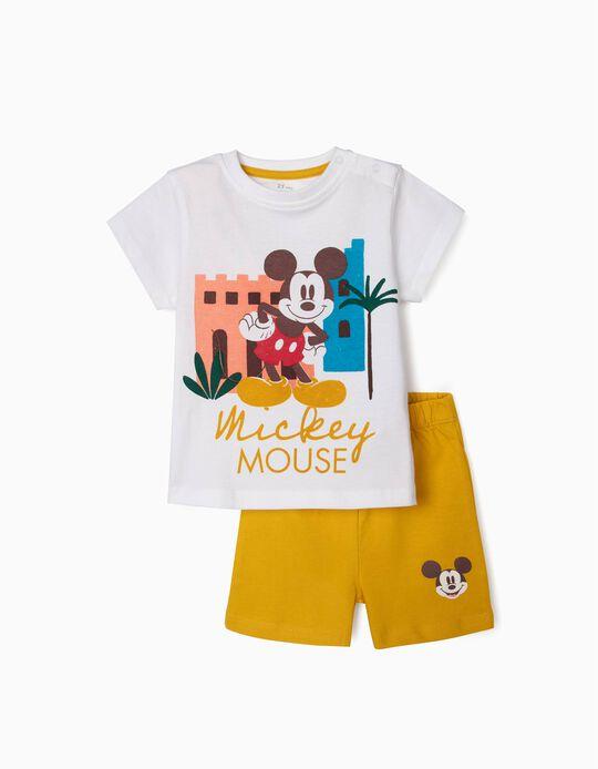 Pijama Algodão Orgânico para Bebé Menino 'Mickey', Branco/Amarelo