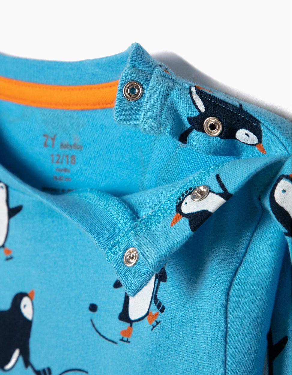 T-shirt Manga Comprida Pinguins Azul
