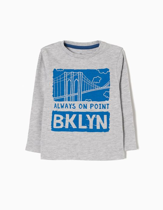 Grey Long-Sleeved Top, New York