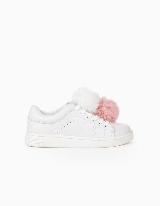 Sapatilhas com Pompons para Menina 'ZY 96', Branco
