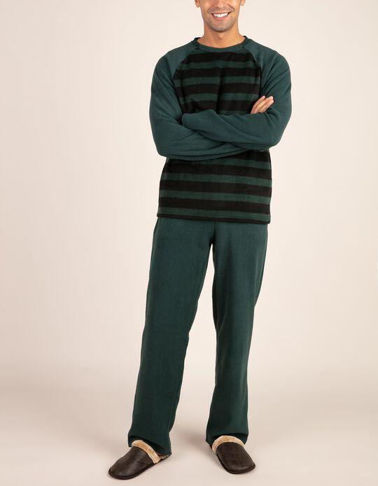 Conjunto de pijama polar às riscas