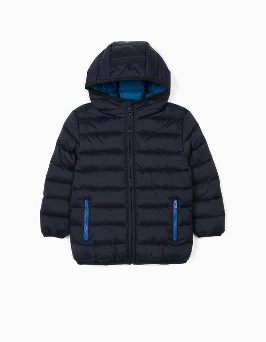 Blusão Acolchoado com Capuz para Menino, Azul Escuro