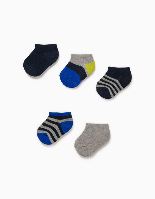 5 Pairs of Trainer Socks for Baby Boys, 'Stripes', Multicoloured