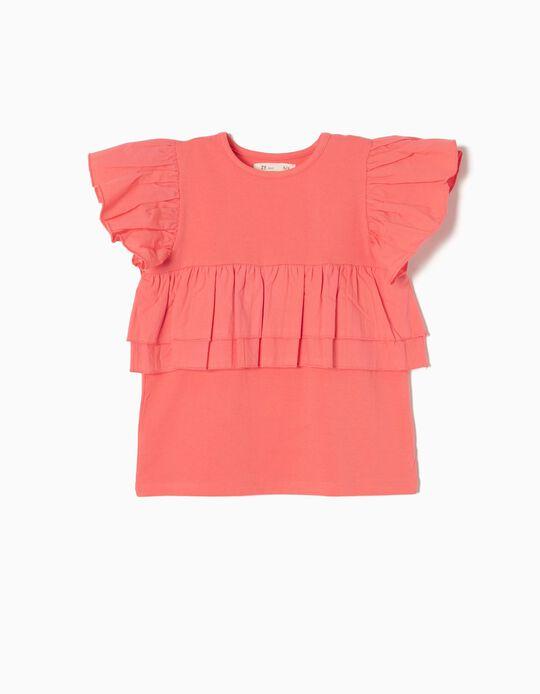 T-shirt Coral com Folhos