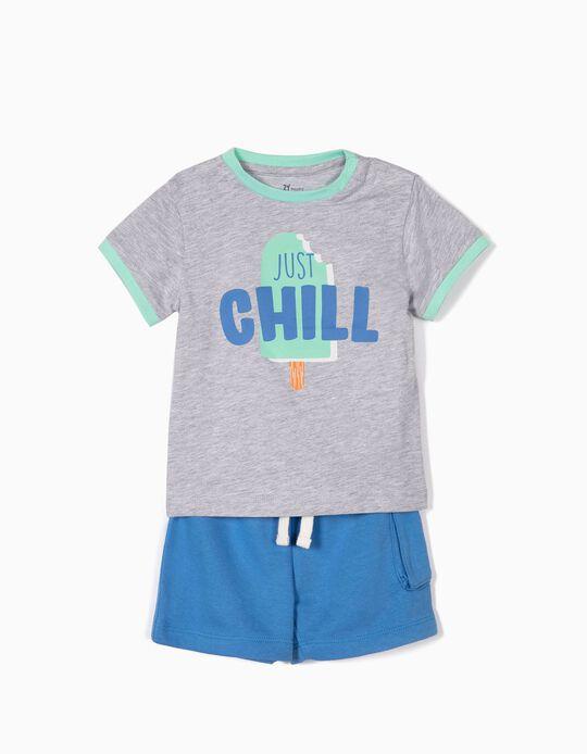 T-shirt e Calções para Bebé Menino 'Just Chill', Cinza e Azul