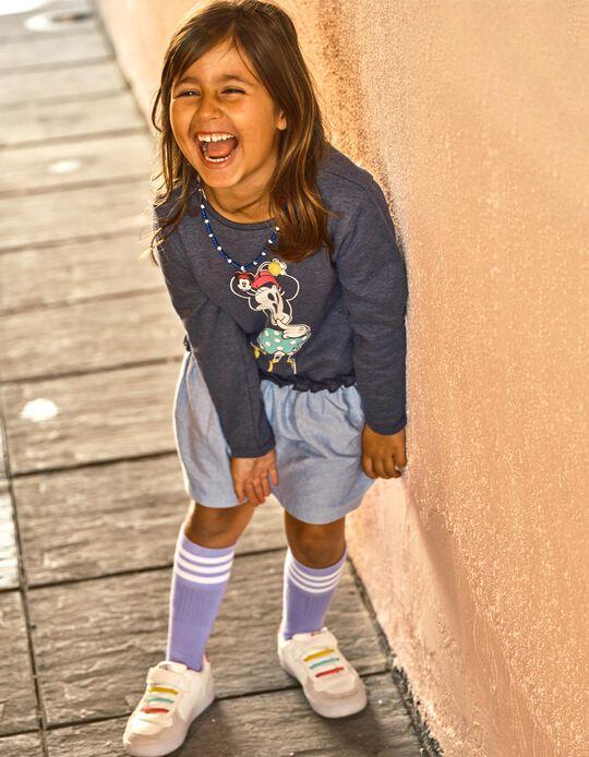 Dual Fabric Dress for Girls 'Minnie', Blue