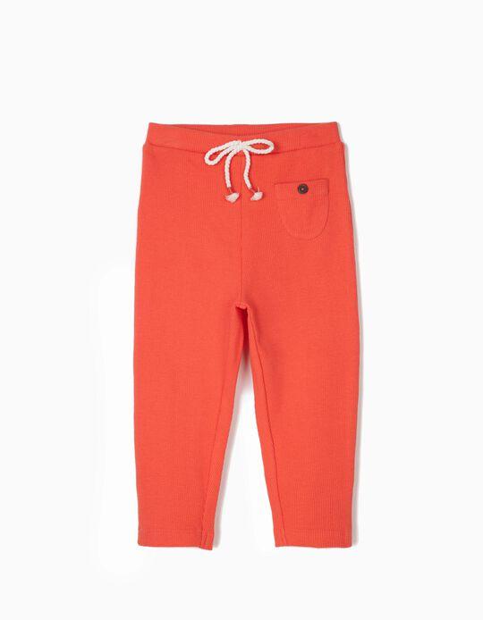 Calças Leggings Caneladas para Bebé Menina, Coral