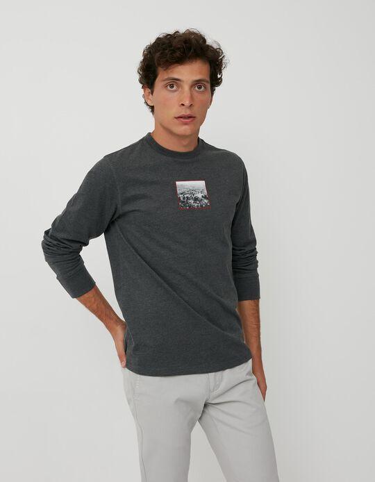 Long Sleeve Minimalist Top, Men, Grey