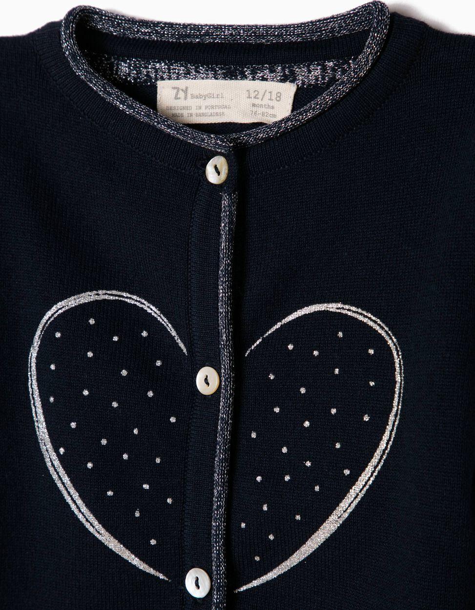 Casaco de Malha Azul com Coração