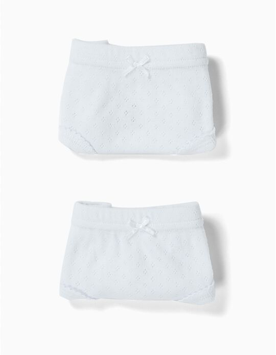 2-Pack Textured Briefs for Girls, White