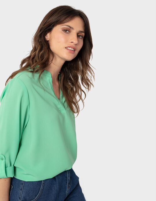 Fluid Blouse with Roll-Up Sleeves, Women