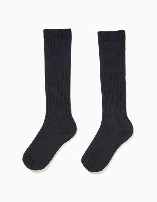 2 Pairs of Knee High Socks for Boys, Dark Blue
