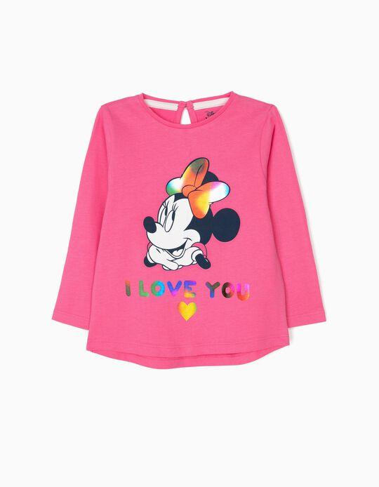 T-shirt Manga Comprida para Bebé Menina 'Minnie Love', Rosa