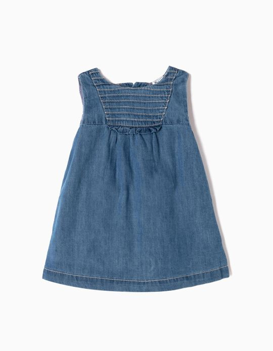 Denim Dress with Nappy Cover for Newborn Girls, Blue