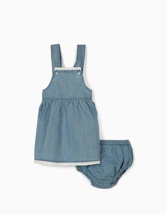 Saia de Peito e Tapa-Fraldas para Recém-nascida 'Comfort Denim', Azul