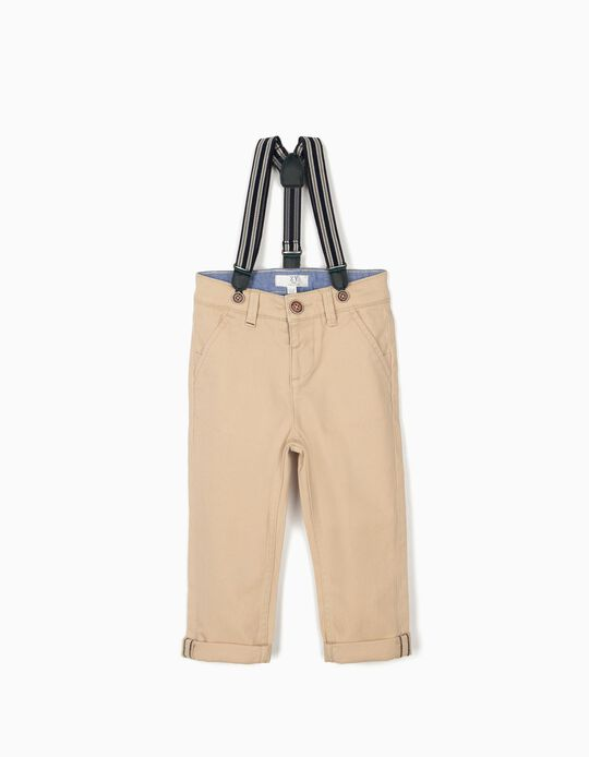 Chinos with Braces for Baby Boys, Beige