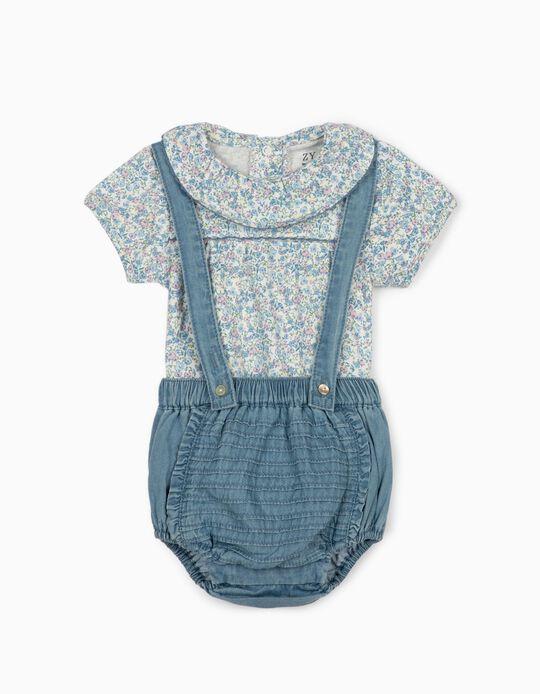 Shorts and Bodysuit for Newborn Baby Girls, Blue/White