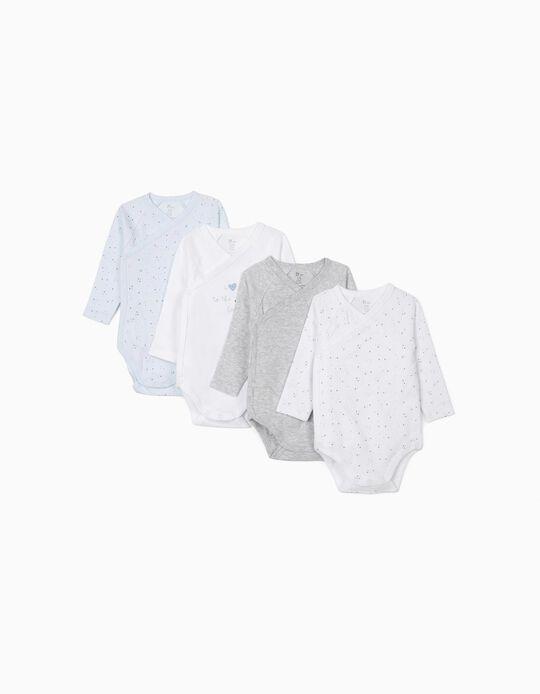4 Bodysuits for Newborn Baby Boys, 'Stars', Grey/White/Blue