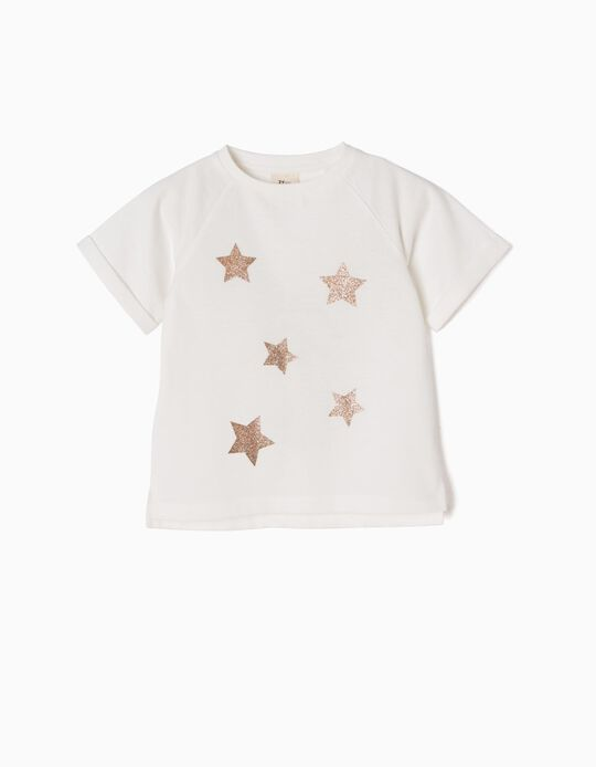 T-shirt Branca com Estrelas Purpurina