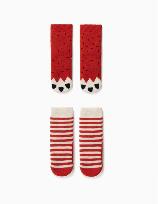 2 Pairs of Non-Slip Socks for Baby Boys, Red