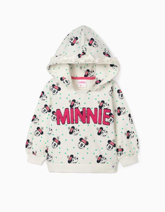 Hooded Sweatshirt for Baby Girls, 'Minnie', White