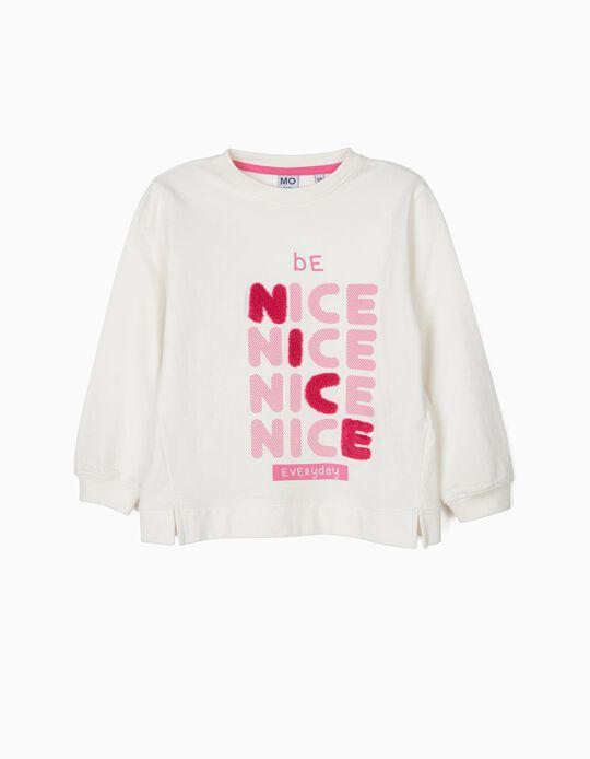 Sweatshirt com letras em  fio bouclé