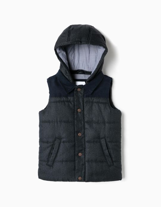 Padded Vest for Boys with Hood, Dark Blue