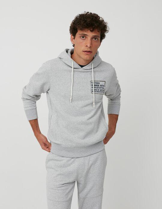 Sweatshirt Algodão Reciclado, Homem, Cinza