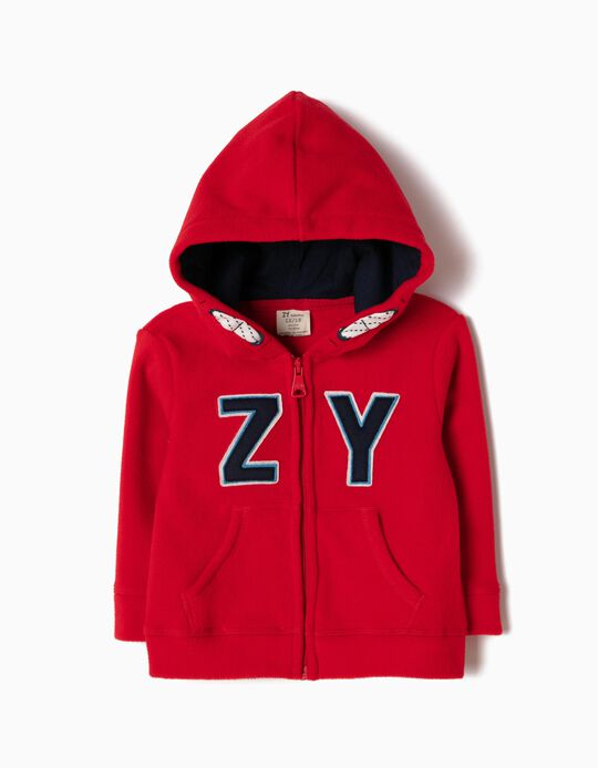 Red Polar Fleece Jacket with Hood, ZY