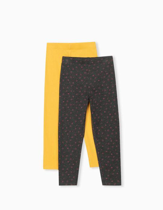 2 Pairs of Leggings, Girls, Yellow/ Dark Grey